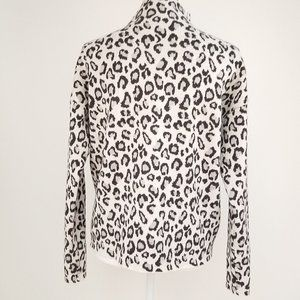 Cynthia Rowley Funnel Neck Leopard Print Sweater
